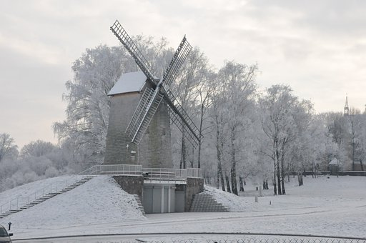 Podlasie, Winter, Windmill, Biel, Frost