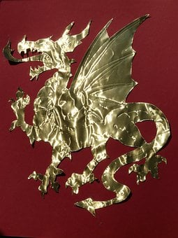 Dragon, Cute, Golden, Paper, Cut Out, Claw, Wing