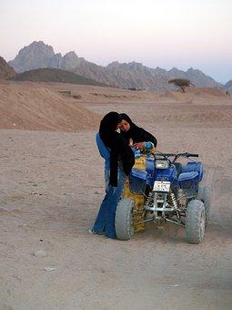 Egypt, Sinai, Peninsula, Desert, A Muslim, Quad Bike