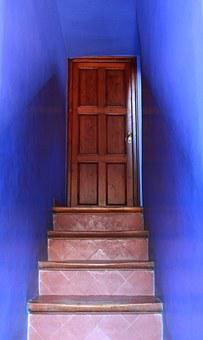Steps, Stairs, Blue, Blue Walls, Door, Park Guell