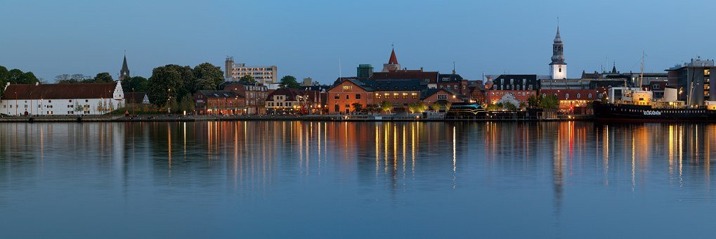 Aalborg, Waterfront, City by Night, Cityscape