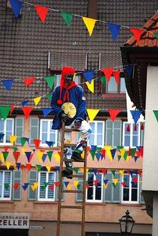 Carneval, Clown, Man, Person, Ladder, Parade, Germany
