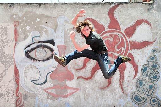 Person, Male, Jumping, Concrete, Wall, Graffiti, Happy