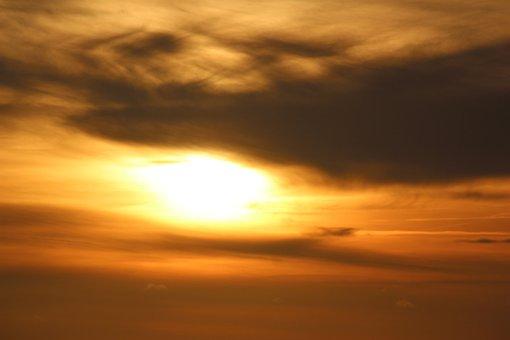 Sun, Sunset, Blurred Cloud, Abendstimmung, Evening Sky