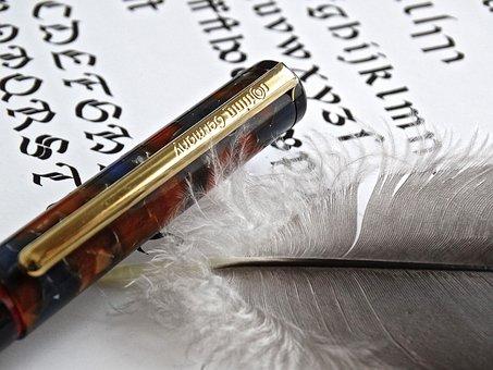 Fountain Pen, Text, Write, White, Feather, Lightweight