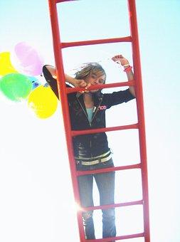 Girl On Ladder, Balloons, Ladder, Climbing, Girl, Red