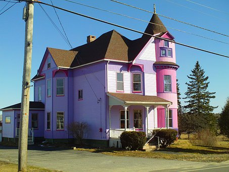 House, Victorian, Purple, Architecture, Home, Building