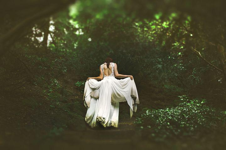Girl, Gown, Leaves, Nature, Outdoors, Wedding Dress