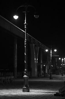 Wolmido, Incheon, Street Lights, Black And White, Light