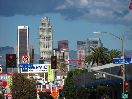 Los Angeles, Skyline, Daylight Sun, Palm Trees, Signs