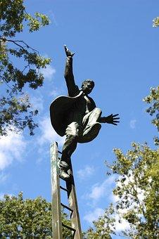 Man On Ladder, Jump, Art, Statue, Ladder
