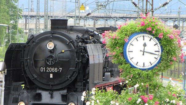 Steam Locomotive, Clock, Railway, Nostalgia, Departure