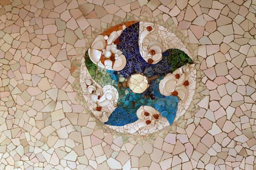 Park Guell, Mosaic, Tile, Gaudi, Texture, Broken Tile