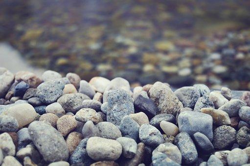 Rocks, Pebbles, Beach, Clear Water, Blue Filter, Blur