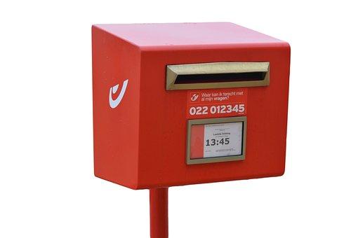 Mailbox, Post, Slot, Red