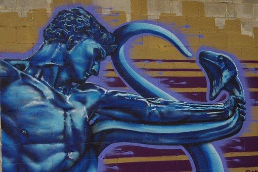 Snake, Hand, Temptation, Blue, Snakebite, Muscular