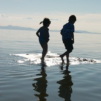 Children, Walking, Water, River, Reflective, Surfaces