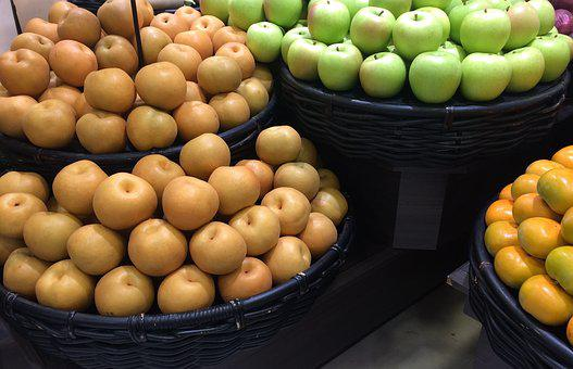 Autumn, None, Pear, Green Apple, Persimmon, Pile Up