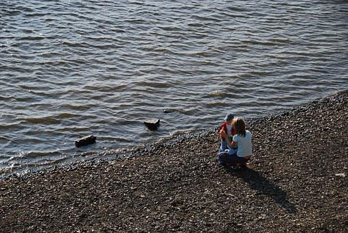 River, Beach, Summer, Kids, Mother And Child, Cupid