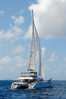 Catamaran, Sailboat, Sail, Water, Ocean, Sea, Blue, Sky
