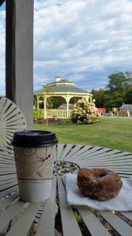 Coffee, Donut, Napkin, Food, Dessert, Cake, Breakfast