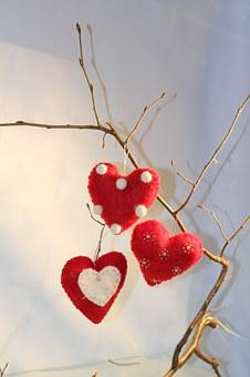 Heart, Red, Branch, Christmas, Felt Hearts, Rustic