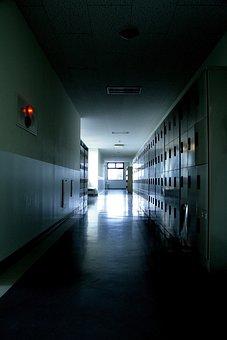 School, Corridor, Locker, Night, Darkness