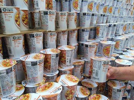 Cup Noodle, Curry Noodles, Ramen, Instant, Pile Up