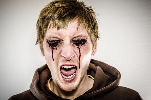 Bleeding Eyes, Dead, Zombie, Make-up, Halloween, Men
