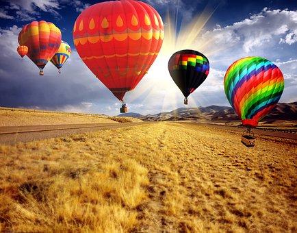 Hot Air Balloon, Balloon, Floating, Countryside, Flight