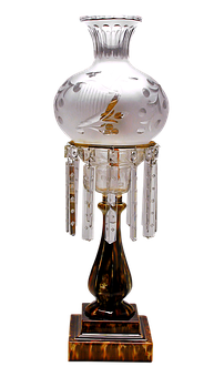 Table Lamp, Lamp, Glaze, Glass, Crystals, Antique