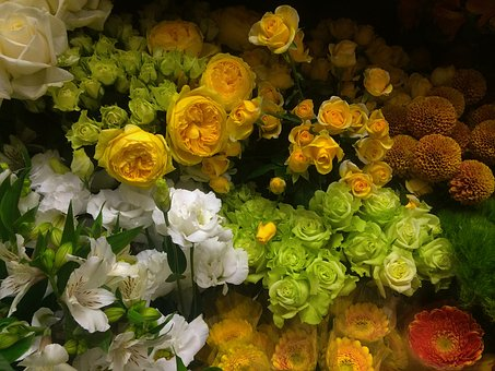Rose, Yellow, White, Green, Florist, Flowers