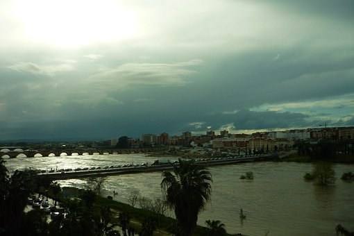 Guadiana, River, Flood, Grown, Walk, Margins, Bridges