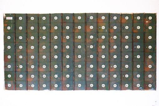Lockers, Numbers, Keyholes, Rust
