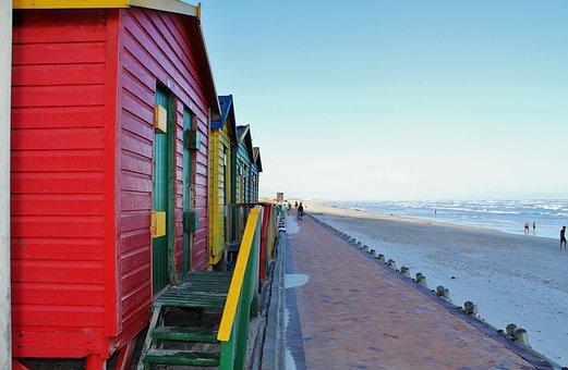 Cape Town, Muizenberg Beach, Locker, Beach, Colorful