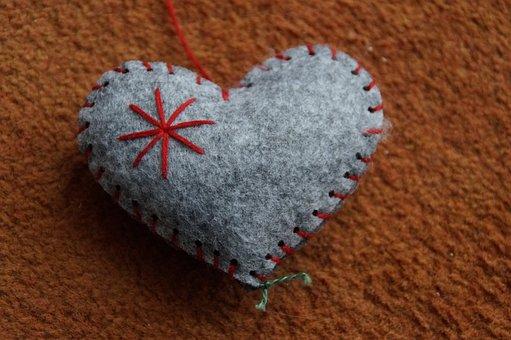 Hand Labor, Heart, Felt, Love, Symbol, Sewn, Decoration