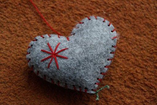 Heart, Felt, Love, Symbol, Sewn, Decoration, Deco