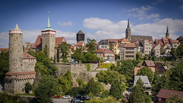 Bautzen, City, Panorama, Old Town, Sky, Wall, Masonry