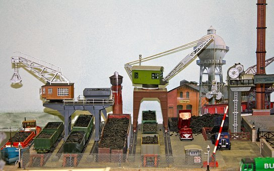 Model Layout, Model Cranes, Dock Cranes, Coal Yard