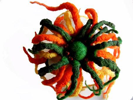 Needlework, Brooch, Wet Felting, Wool And Silk