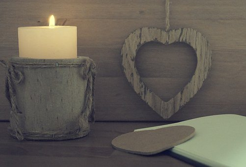 Heart, Candle, Wooden, Notebook, Love, Holiday