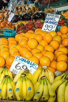 Farmers Market, Fruit, Vegetables, Bananas, Oranges
