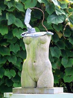 Statue, Female, Form, Outline, Breasts, Waist, Pedestal