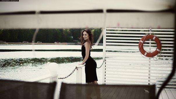 Pier, Yacht, Girl, Black Dress, Skirt, Beautiful, Sexy