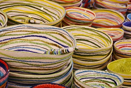 Tableware, Plate, Porcelain, Stack, Colorful