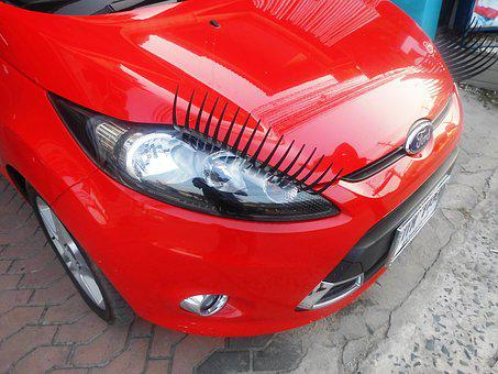 Eyelashes, Auto, Pkw, Tuning, Red, Ford, Fiesta