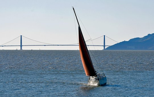 Sailboat, San Francisco Bay, Red Sail