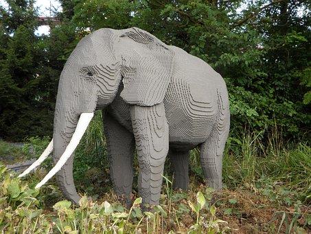 Elephant, Replica, Sculpture, Theme Park, Legoland