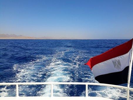 Sea, Flag Of Egypt, Journey, Stroll, Seascape