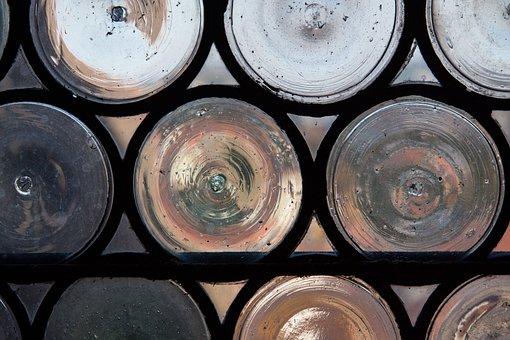 Bullseye, Leaded Glass, Navel Slices, Slug Glass